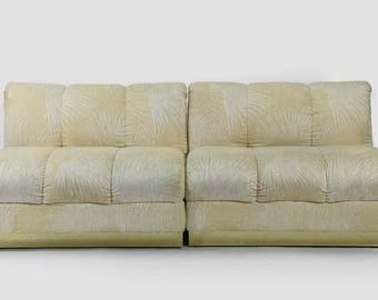 SALE Mid Century Modern, Vintage Brass Base 2 Pc Modular Sofa, Couch
