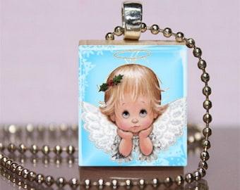 Baby Girl Angel Scrabble Necklace Pendant Jewelry. Angel Charm Bracelet - Key Ring. Angel Necklace. Stocking Stuffer. Handmade.