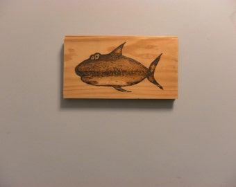 SHARK  Pyrography Portrait of a very special shark on pine ready to ship