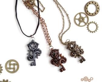 Skeleton Key Steampunk Pendant Steampunk Key Necklace Industrial Jewelry Steampunk Skeleton Keys Steampunk Costume Jewelry Steampunk Jewelry