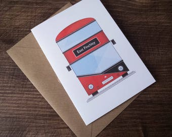Customisable London Bus Greeting Card A6. Add your name or a place :)