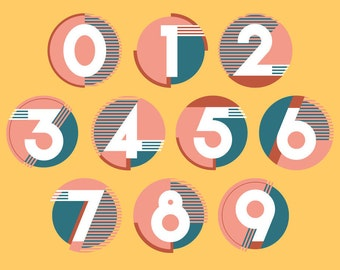 ART DECO Number Set, Vector EPS, Digital Buttons Icons