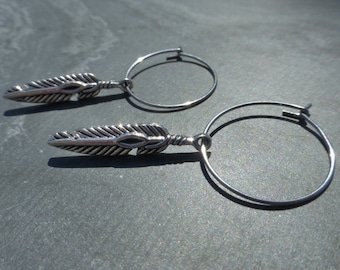 Hypoallergenic Stainless Steel Hoop Earrings With Silver Feather Charms - Boho - Gypsy - Hippy - Festival