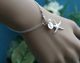 10% OFF,SET OF 5,Personalized Starfish bracelet,Initial bracelet,ocean beach wedding,Bridal bracelet