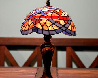 Uroboros Tiffany lamp. Stained glass home decor. Handmade table lamp. Tiffany lampshade. Bedside lamps. Antique lamp. Stained glass art