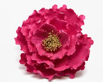 """Hot Pink and Gold Peony Sugar Flower 6"""" Gumpaste Cake Topper for Weddings, Bridal Showers, Birthdays, Engagement Cakes,"""