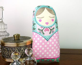 Natasha Babushka Doll Toy 7inch In The Hoop Project Applique Machine Embroidery Design Pattern