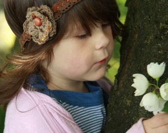 SALE Crochet flower Lace Headband  -sweet as a chocolate