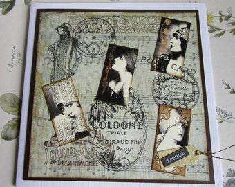 Art deco themed card. Vintage influenced card. Deco inspired card. Vintage fashion card. Elegant fashion. Deco influenced.