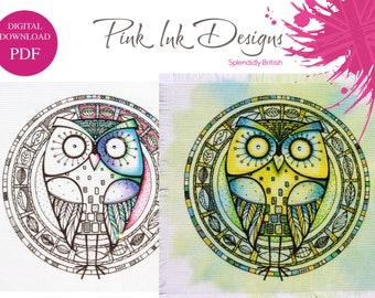 Owl pattern pdf digital download