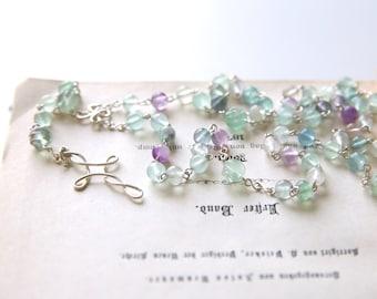 Fluorite Rosary - Light Green Purple Fluorite Gemstone Beaded Sterling Silver Long Rosary Necklace, Handmade Jewellery by Ikuri immortelle