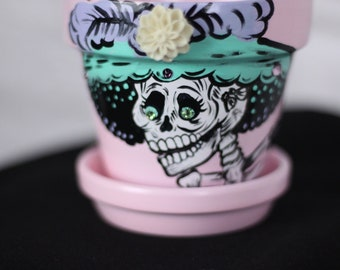 La Loteria mini flower pot / Dia de Los Muertos flower pot / el corazon succulent pot