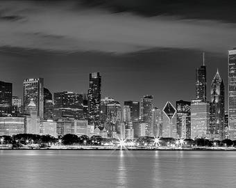 Chicago Night Skyline in Black and White