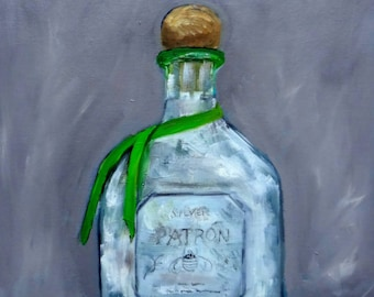 Patron Silver Tequila Bottle Impressionism Oil Painting
