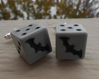 BAT Dice Cufflinks. Wedding, Men's, Groomsmen Gift, Valentine, Dad, Anniversary, Father's Day.
