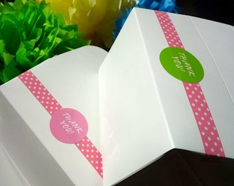 Dozen (12) Gable Cake Box THANK YOU Princess Pink Paper Food Grade Favor To Go w/ Handle Decorated Wedding Stickers Numbers, Letters, Phrase