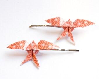Swallow Origami Hair Clips - Orange Geometric - 2pcs
