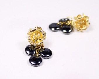 gold earrings black mini drop earrings women gifts mother romantic flower jewelry dainty earrings gift charcoal gift modern jewelry пя48