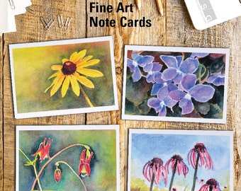 Wisconsin Wild Flowers Watercolor Note Card Set of 4 by James Steeno Botanical Greeting Cards Thank You Blank Inside All Occassion Cards