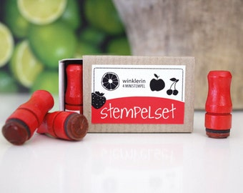 Mini Fruit Rubber Stamps // Set of 4 Mini Stamps // Strawberry Orange Cherry Apple