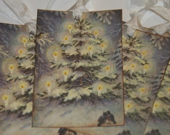 Vintage Glittered Christmas Tree Gift Tags