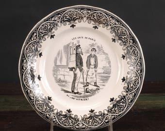 """Vintage Creil et Montereau Plate, Les Cris de Paris, No. 1 """"Ho! Vitrier!, France"""