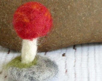 Needle Felted Toadstool on a Stone