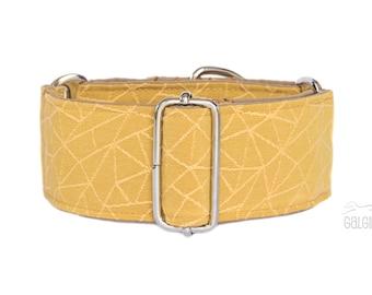"Treasure, dog collar, summer, monochrome, geometric, ochre, yellow, wide sighthound collar, 2"" martingale, 1.4"" martingale"