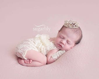 Newborn Baby Girl Cream Lace Open Back Ruffled Onsie, Photo Prop