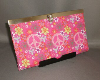 Wallet - DIVA Wallet - Clutch Wallet - Peace Signs - Hot Pink - Hippie - Antique Brass