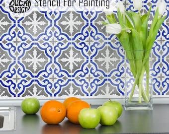 SEVILLE TILE STENCIL - Mediterranean Moroccan Wall Furniture Craft Floor Tile Stencil for Painting - SEVI01
