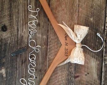 Rustic Bridal Hanger, Bride Hanger, Engraved Wedding Date, Wedding Date Hanger, Rustic Wedding, Personalized Hanger, Mrs. Hanger, Bride Gift