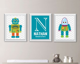 Baby Boy Nursery Print Art - Robot Nursery Decor - Robot Nursery - Robot Nursery Art - Robot Bedroom Art - Robot Art - Wall Art (NS-717)