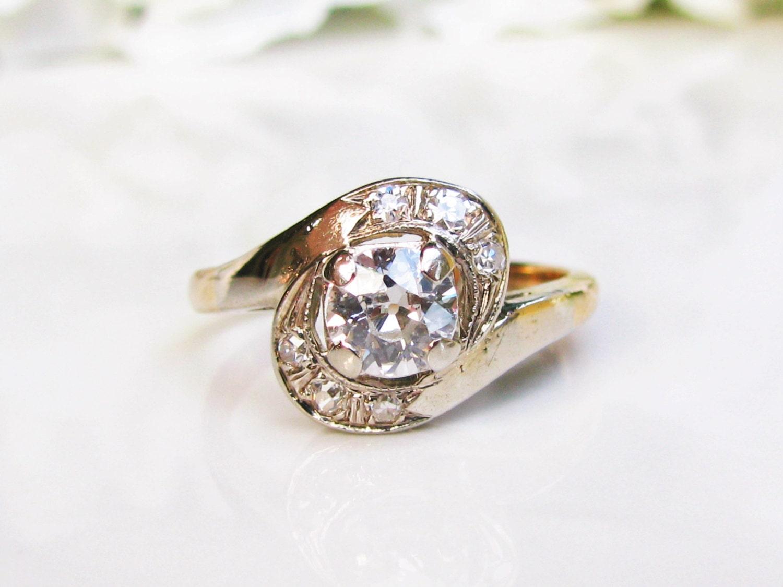 Antique Engagement Ring Old Mine Cut Diamond Wedding Ring