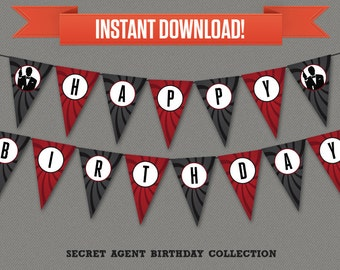 Secret Agent / Spy Party Printable Birthday Banner with Spacers - Editable PDF file - Print at home