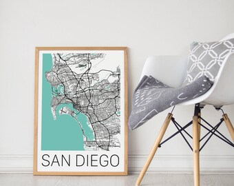 San Diego Map Poster/San Diego Map/San Diego Map Art/San Diego Map Print/San Diego Poster/San Diego Print/Map Art/San Diego Gift/City Map