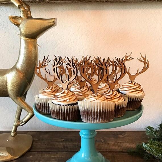 Cupcake Topper, Antler Cupcakes, Deer Cupcake Topper, Antler Cupcake Topper, Rustic Cupcakes, Hunter Party, Deer Head Cupcake Toppers
