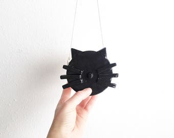 Ceramic Hanging Cat Planter - Hanging Succulent Planter - Cat Lover Gifts