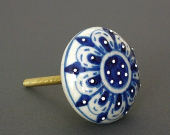 Flat Embossed Ceramic Knob in Shades of Blue