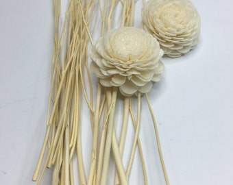 Wood Diffuser Sticks / Twigs (21 cm / 8.2 in) with SOLA FLOWERS for Essential Oils, PACK