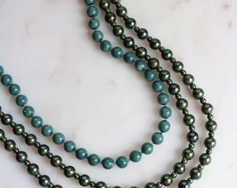 Set of 2 Green Beaded Necklaces - Beaded Wrap Necklace