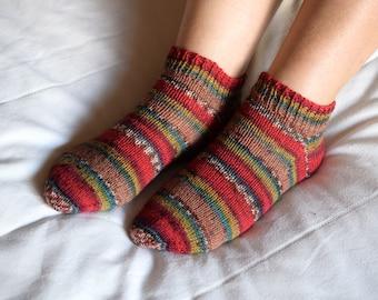 Thin wool socks, hand knit socks for women, winter socks, red stripes, reinforced heel, short ankle socks, house slippers for girlfriend