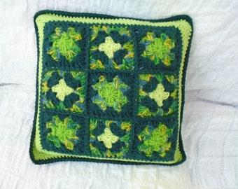 Cashmere wool alpaca crochet granny squares cushion cover - an irish granny original