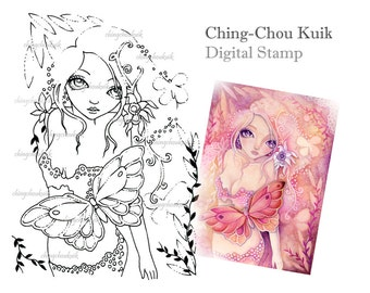 Crimson Dream- Digital Stamp Instant Download / Fantasy Art by Ching-Chou Kuik