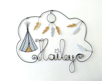 """Name personalized wire, wall decor for child's room, """"teepee and dream catcher gold feathers"""""""