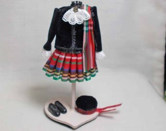 Dolls house Miniature Scottish Children's Outfit on Mannequin by Patricia J Arnold