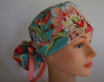 Teal Coral Bliss Ponytail - Womens lined surgical cap, Chefs hat, Nurse surgical hat, 52+5550 OW
