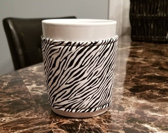 Zebra Print/ Cup Cozy/ Mug Cozy/ Coffee Cozy...Mug Included/ Kitchen Gift/ Office Gift