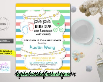 Baby Shower Invitation, Baby Shower Invitation Template, Invitation Printable, Boy, Girl, Baby Shower Invite, PDF Instant Download, Twinkle