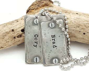 Dog Tags - Personalized Dog Tags - Dad Gift - Personal Gift for Him - Unisex Dog Tags - Sterling Silver Dog Tags - Dad Christmas